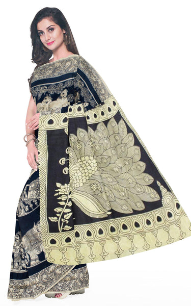 Kalamkari crepe silk saree pattern with Elephants&Pallaku -(Black)21374B *Rs.150 Off*, Sarees - Swadeshi Boutique