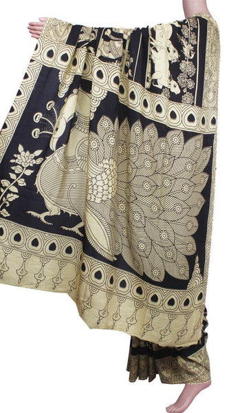 Kalamkari crepe silk saree pattern with Elephants&Pallaku -(Black)21374A, Sarees - Swadeshi Boutique