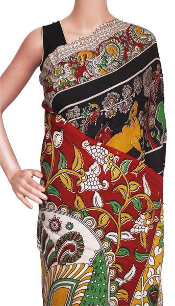 Kalamkari crepe silk saree pattern with Elephants&Pallaku -(Black)21375A, Sarees - Swadeshi Boutique