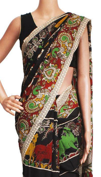Kalamkari crepe silk saree pattern with Elephants & Pallaku -(Black)21375B, Sarees - Swadeshi Boutique