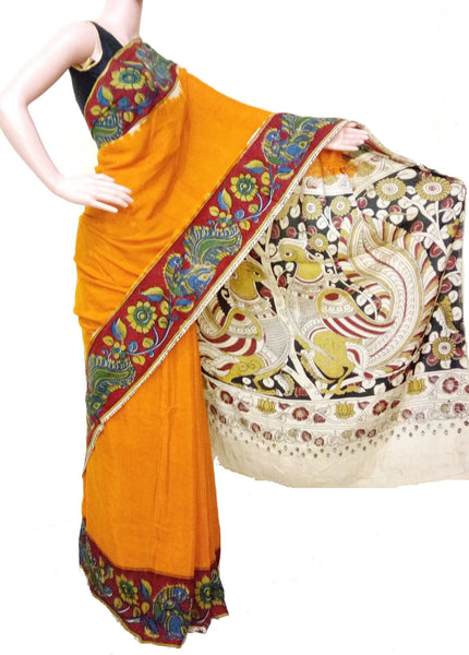 Kalamkari crepe silk saree beautiful - Peacock pallu (orange) (22026-E), Sarees - Swadesh