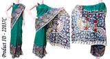 Kalamkari crepe silk saree beautiful - Peacock pallu (Green) (22037C), Sarees - Swadesh