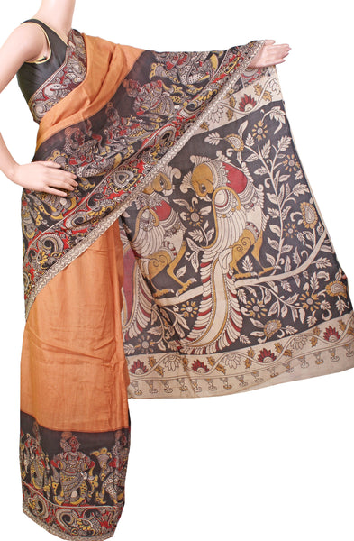 *AADI SALE (50% OFF)*Kalamkari Crepe Silk Saree (plain dyed) with a Beautiful border and Peacock Pallu[Without Blouse] - Copper (AD22083L)