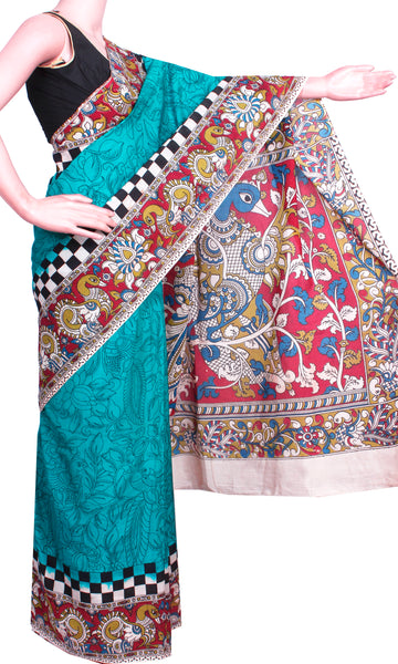 * Aadi Sale 50% Off  * Kalamkari Crepe Silk plain dyed Saree with Peacock in body and pallu - Mild Green (AD22120B)