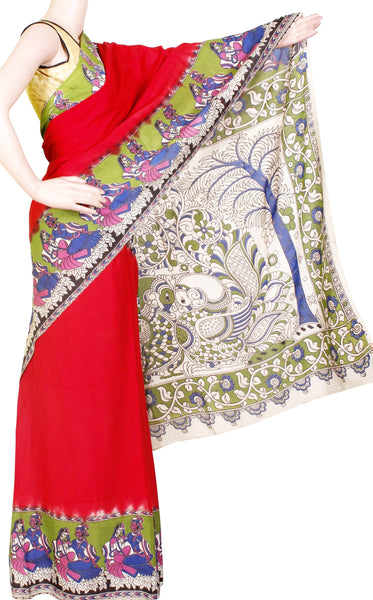 * Clearance SALE * Kalamkari Crepe Silk plain dyed Saree with Peacock in pallu - Red (22147C)