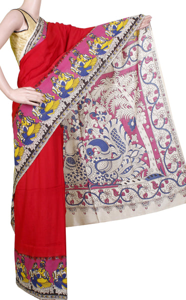* Maasi SALE *  Kalamkari Crepe Silk plain dyed Saree with Peacock in pallu - Red (22147E)