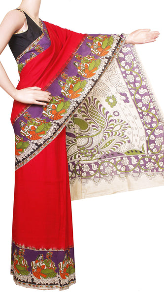 * No GST Sale Rs. 500 Off * Kalamkari Crepe Silk plain dyed Saree with Peacock in pallu - Red (22147G)