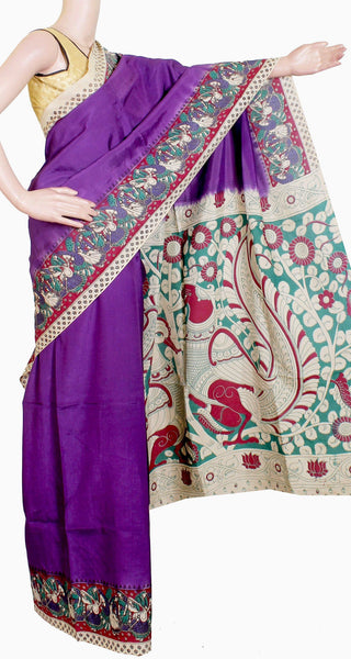 Kalamkari crepe Silk dyed saree with Peacock  in pallu - Violet ( 22174A) *Sale Rs.500 Off* - Swadeshi Boutique