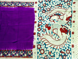 Kalamkari crepe Silk dyed saree with Peacock  in pallu - Violet ( 22174A) *Sale Rs.500 Off*, Sarees - Swadeshi Boutique