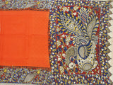 Kalamkari Crepe Silk plain dyed Saree with Peacock  in pallu - Orange (22177A)