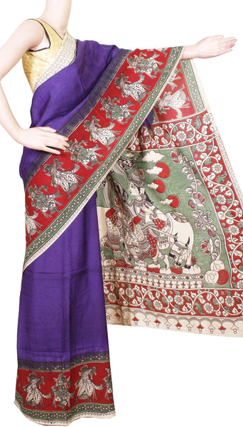 Kalamkari Crepe Silk plain dyed Saree with Krishna-Ratha  in pallu - Violet (22179B)
