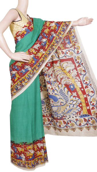 Kalamkari Crepe Silk plain dyed Saree with Beautiful Border and Peacock in Pallu(Without Blouse) - Green (22187A)