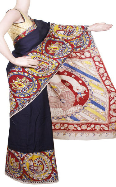 *AADI SALE (50% OFF)*Kalamkari Crepe Silk plain dyed Saree with Peacock in Border and Pallu[Without Blouse] - Black (AD22216A)