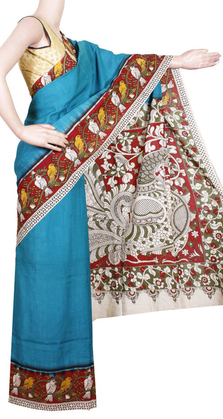 Kalamkari Crepe Silk plain dyed Saree with Parrot in border and Peacock in Pallu - Sky Blue (22212A)
