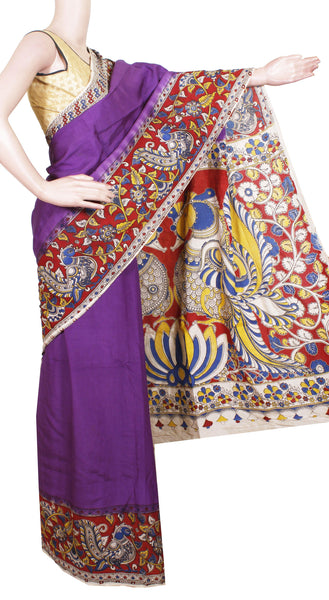 Kalamkari Crepe Silk plain dyed Saree with beautiful border and Peacock in Pallu - Violet (22213A)