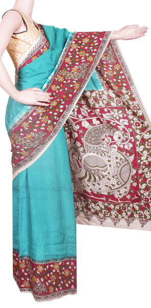 Kalamkari Crepe Silk plain dyed Saree with Peacock in Border and Pallu -Green (22220B)