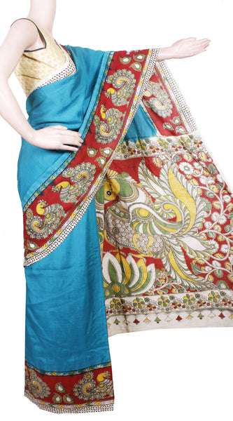 Kalamkari Crepe Silk plain dyed Saree with Peacock in Border and Pallu - Green(22222A)