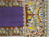 Kalamkari Crepe Silk plain dyed Saree with Pallaku in border and Peacock in Pallu - Violet (22231C)