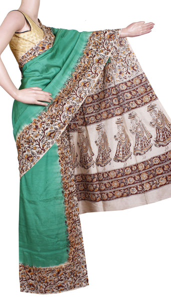 AADI SALE (50+%  OFF) :Kalamkari Crepe Silk plain Hand Block Printed Saree - Green(AD22236A)