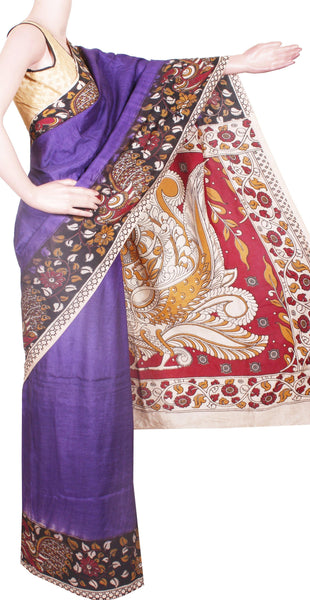 * No GST Sale * Kalamkari Crepe Silk plain dyed Saree with Peacock in Border and Pallu -Blue (22237A)