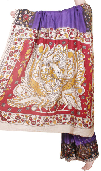 Kalamkari Crepe Silk Saree with Peacock Border and Pallu -Blue (22237A) *Sale 60% Off*, Sarees - Swadeshi Boutique