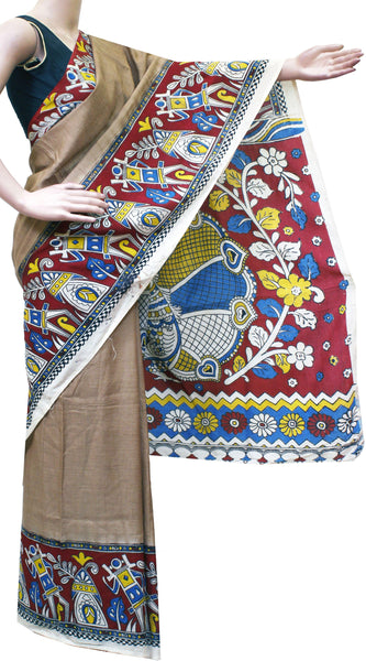 * No GST sale *Kalamkari Crepe Silk plain dyed Saree with beautiful Houses in Border and Peacock in Pallu [Without Blouse] -(22242A)