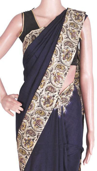 Kalamkari Crepe Silk plain Hand Block Printed Saree  - (22247A) - Swadeshi Boutique