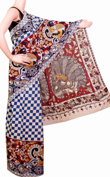 * SALE * Kalamkari Saree pattern with Peacock in pallu - cotton(Blue) with contrasting blouse (23042B)