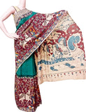 Kalamkari Saree plain with Peacock in pallu [Green] - cotton(23052C), Sarees - Swadesh