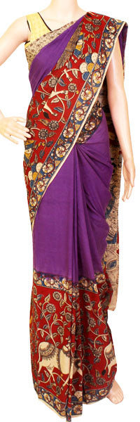 * Ugadi Special price * Kalamkari dyed saree with the popular wide border and Swan Boat pallu [Violet] - cotton(23052F)