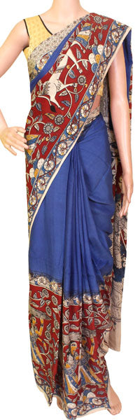 Kalamkari naturally dyed Saree with a grand pallu (23058E)* Sale 50% off *, Sarees - Swadeshi Boutique