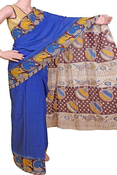 * No GST Sale  * Kalamkari dyed saree with a beautiful border and a Pallu [Blue] - cotton(23061E), Sarees - Swadeshi Boutique