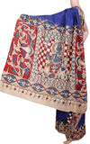 *No GST sale *  Kalamkari dyed plain saree with checked border and Krishnar pallu [Blue] - cotton(23072F), Sarees - Swadeshi Boutique