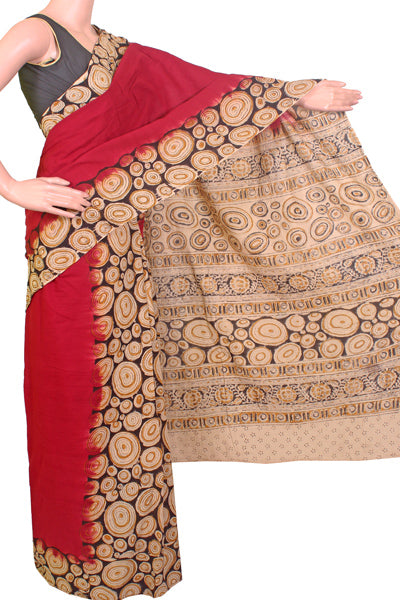 * No GST Sale 50% Off  * Kalamkari dyed saree with rings in Border  [Partly Pallu]  [Maroon] - cotton(23075C), Sarees - Swadeshi Boutique