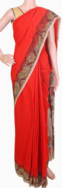 Kalamkari dyed saree with peacock in pallu with an attached blouse(23076A), Sarees - Swadeshi Boutique