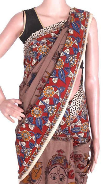Kalamkari dyed Saree with faces all over with a pallu design - cotton(23090H)* sale 50% off *, Sarees - Swadeshi Boutique