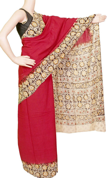 Kalamkari dyed saree with flowers in border and a vibrant pallu [Maroon] - cotton(23094A)