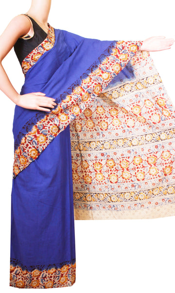 * No GST Sale 50% Off *  Kalamkari dyed saree with flowers in border and a vibrant pallu [Blue] - cotton(23094C), Sarees - Swadeshi Boutique