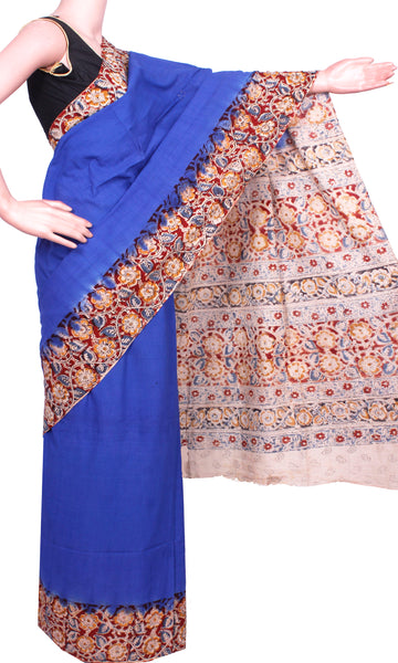 * Mega Sale  * Kalamkari dyed saree with flowers in border and a vibrant pallu [Blue] - cotton(23094B)