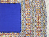 * Mega Sale 50% Off *  Kalamkari dyed saree with flowers in border and a vibrant pallu [Blue] - cotton(23094C)