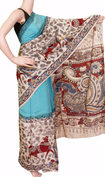 Kalamkari dyed saree with Peacock in pallu [Blue] - cotton(23095B)