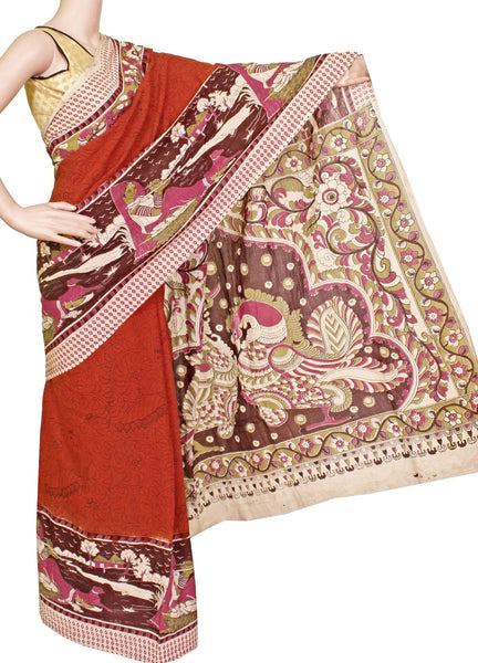 *AADI SALE (50% OFF)*Kalamkari Saree with a beautiful Peacock in Body and pallu [Dark orange] - cotton(AD23097A)