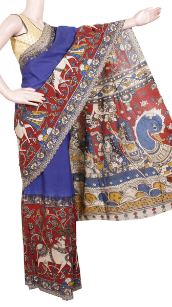Kalamkari dyed saree with a beautiful swan boat in Pallu [Blue] - cotton(23100G)