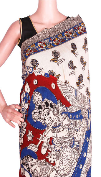 Kalamkari cotton saree with Peacock Pallu & attached blouse (23102D)  *Sale 50% Off*, Sarees - Swadeshi Boutique