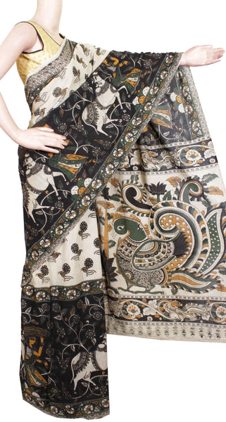 *No GST sale * Kalamkari dyed saree with Peacock in Pallu [Beige & Black] - cotton(23102E), Sarees - Swadeshi Boutique
