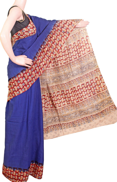 * Summer Sale Rs.200 off *  Kalamkari dyed saree with a beautiful Pallu and a contrasting blouse [Blue] - cotton(23107A)