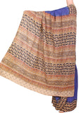 * Summer SALE * Kalamkari dyed saree with a beautiful Pallu [Blue] - cotton(23107B)