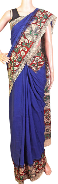 Kalamkari dyed saree with peacock in border and a beautiful Pallu [Blue] - cotton(23108A)* sale 50% off *, Sarees - Swadeshi Boutique