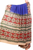 * Summer Sale Rs.200 off * Kalamkari dyed saree with peacock in border and a beautiful Pallu [Blue] - cotton(23108A)