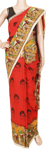 Kalamkari dyed saree with faces in body and a beautiful Pallu [Fanta Color] - cotton(23109C)